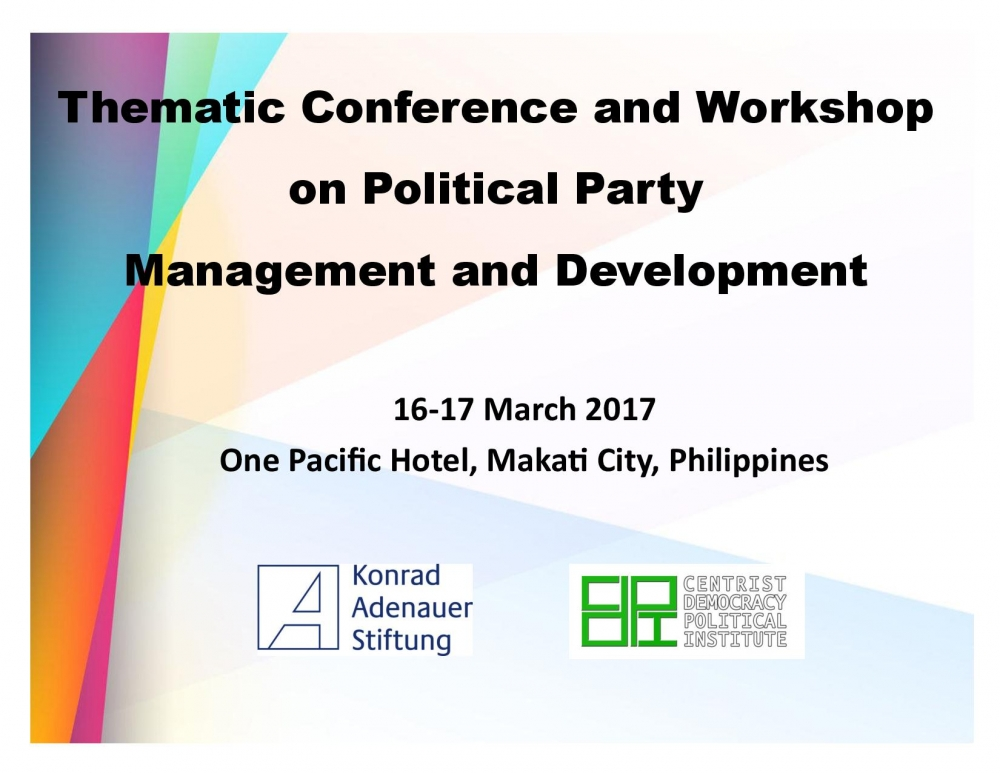 Thematic Conference and Workshop on Political Party Management and Development