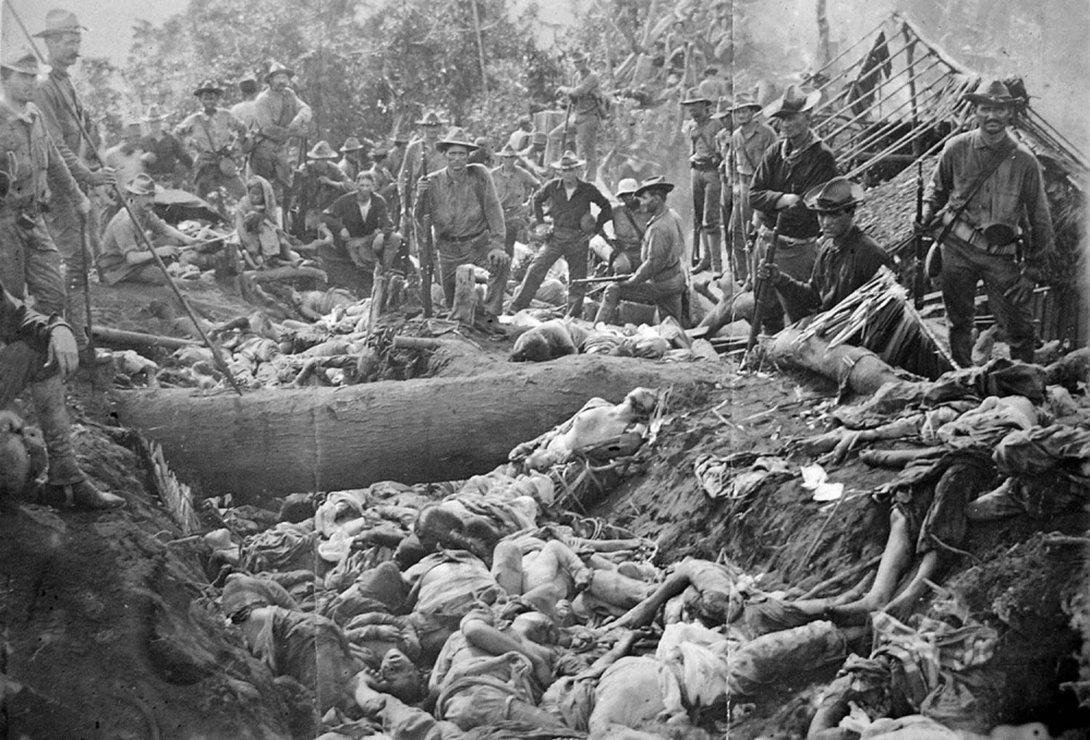The bodies of Moro insurgents and civilians killed by US troops during the Battle of Bud Dajo in the Philippines, March 7, 1906.
