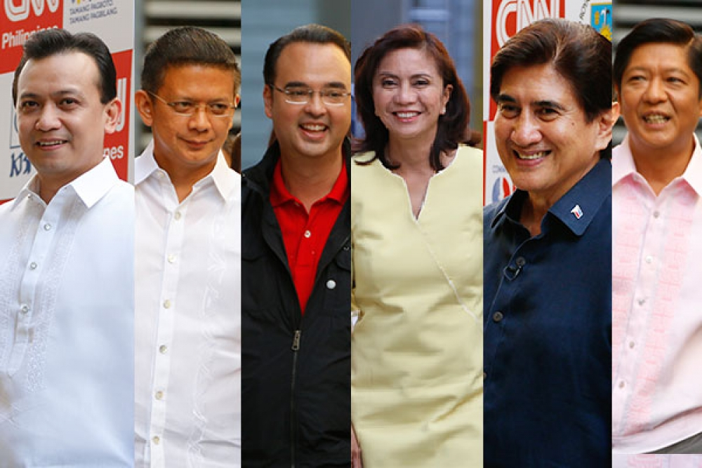"Sen. Antonio Trillanes IV, Sen. Francis Escudero, Sen. Alan Peter Cayetano, Camarines Sur Rep. Leni Robredo, Sen. Ferdinand ""Bongbong"" Marcos Jr. and Sen. Gregorio Honasan II faced each other during the lone vice presidential debate at the University of Santo Tomas in Manila."