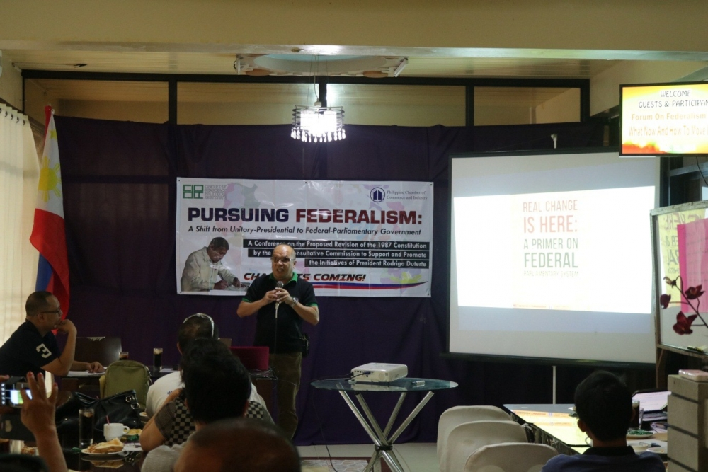 Mr. Jun Aparece, Political Action Officer of Centrist Democracy Political Institute cited the four pre-conditions in pursuing Federalism in the Philippines namely (1) electoral reforms; (2) passage of Anti-dynasty Law; (3) passage of Freedom of Information Law; and (4) political party institutionalization.