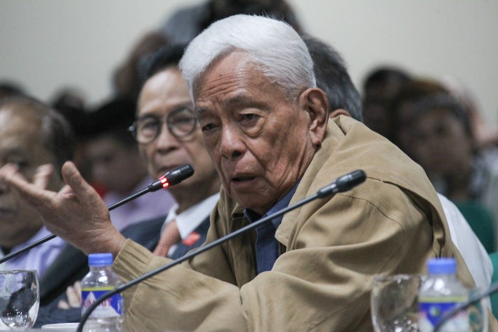 Former senator Aquilino 'Nene' Pimentel, Jr. answers questions on the proposed Charter Change at the Philippine Senate in this January 17, 2018 file photo.